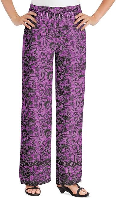 Amazon Com Pantalones Palazzo De Pierna Ancha Con Estampado Floral Y Cintura Elastica Pantalones Elegantes Para Cualquier Ocasion De Verano Clothing