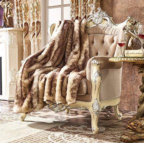 Lindsey Home Fashion Faux Fur Throw, Fur Blankets Super Soft Japanese Kanekalon Fiber, Sheepskin, Mink, Wolf, Bear, 60