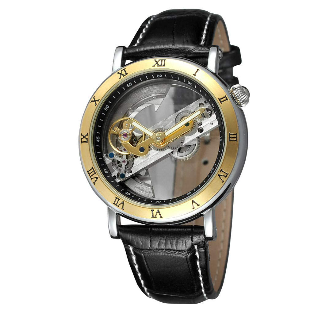 Luxury Men Sport Watches, Hollow Simple Quality Movement Business Fashion Men Leather Mechanical Watch for Men Boys Gift Holiday Present Hot!