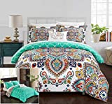 Bed in a Bag King Clearance Chic Home 8 Piece Raypur Reversible Boho-Inspired Print and Contemporary Geometric Patterned Technique King Bed in a Bag Comforter Set Aqua