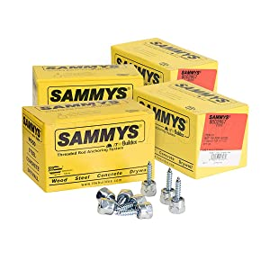 Everflow Sammys 8002957-100 GST 100 1/4 Inch Screw Vertical Threaded Rod Anchor Designed for Wood, No Pre-Drilling Required, Steel with Zinc Finish, Easy Use, 1/4 x 1 Inch Screw Length - (Pack of 100)