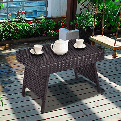 Costway Folding Rattan Side Coffee Table Patio Square Garden Outdoor Furniture Brown Indoor