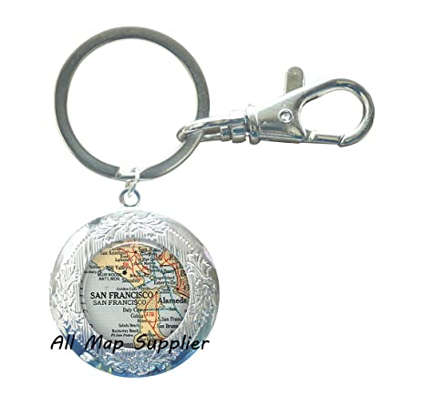 Amazon.com: Encantador Llavero San Francisco mapa Locket ...