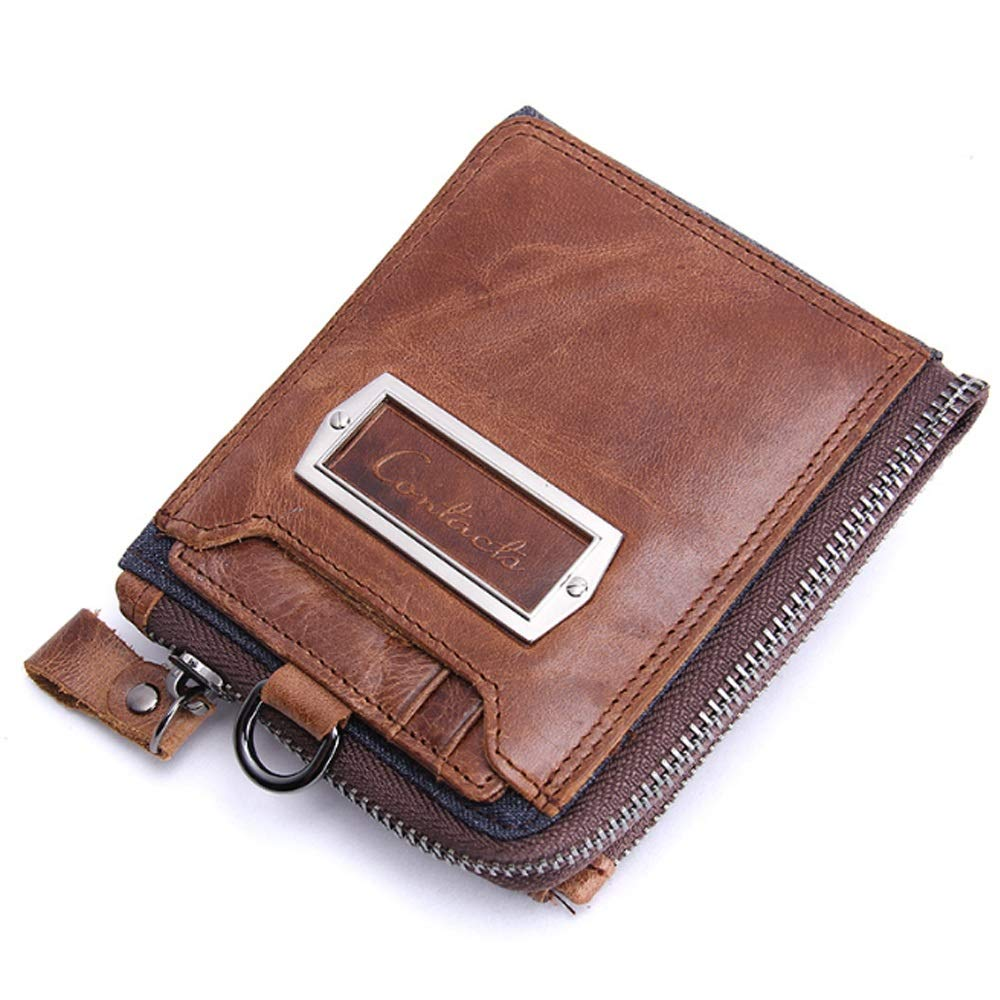 DAYIYANG Special Design Mens Wallet Leather Short Clutch Bag Purse Mad Horse Leather Cross Section Wallet Color : Brown, Size : S