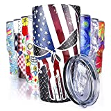 Pandaria 30 oz Stainless Steel Vacuum Insulated Tumbler with Lid - Double Wall Travel Mug Water Coffee Cup for Ice Drink & Hot Beverage, Punisher Skull
