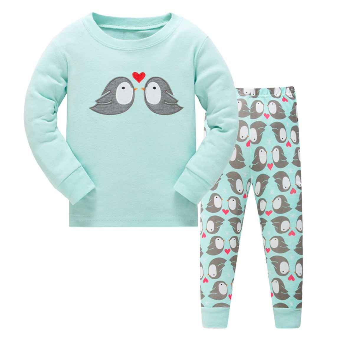 Girls Pajamas Love in Birds Children Pjs Kid Rib Long Sleeves Cotton Clothes Set