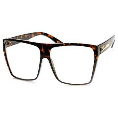 6a08e22fd91 zeroUV - Large Oversized Retro Fashion Clear Lens Square Glasses  (Tortoise)  Amazon.co.uk  Clothing
