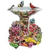 Bits and Pieces - 750 Piece Shaped Puzzle - Garden Birdbath, Busy Bird Fountain - by Artist Alan Giana - 750 pc Jigsaw