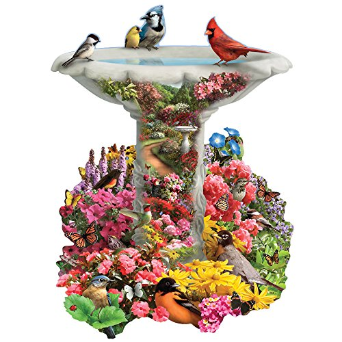 Bits and Pieces - 750 Piece Shaped Puzzle - Garden Birdbath, Busy Bird Fountain - by Artist Alan Giana - 750 pc Jigsaw
