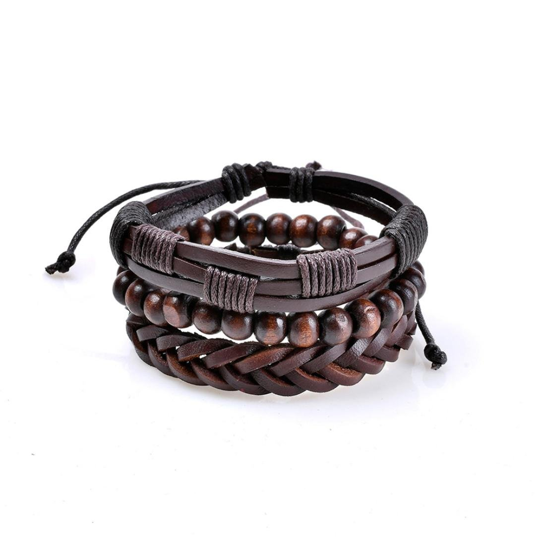 Challyhope Wrap Bracelets Men Women, Hemp Cords Wood Beads Ethnic Tribal Bracelets, Multilayer Handmade Leather Wristbands (I, 17cm+4cm(Adjustable)) (C, 17cm+4cm(Adjustable))