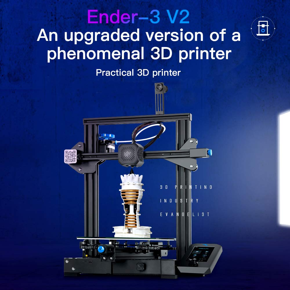 Mean Well Power Supply and New Touch Scree Tresbro Creality Ender 3 V2 3D Printer Carborundum Glass Bed Print Size 220x220x250mm FDM All Metal 3D Printers Kit with Upgraded Silent Motherboard