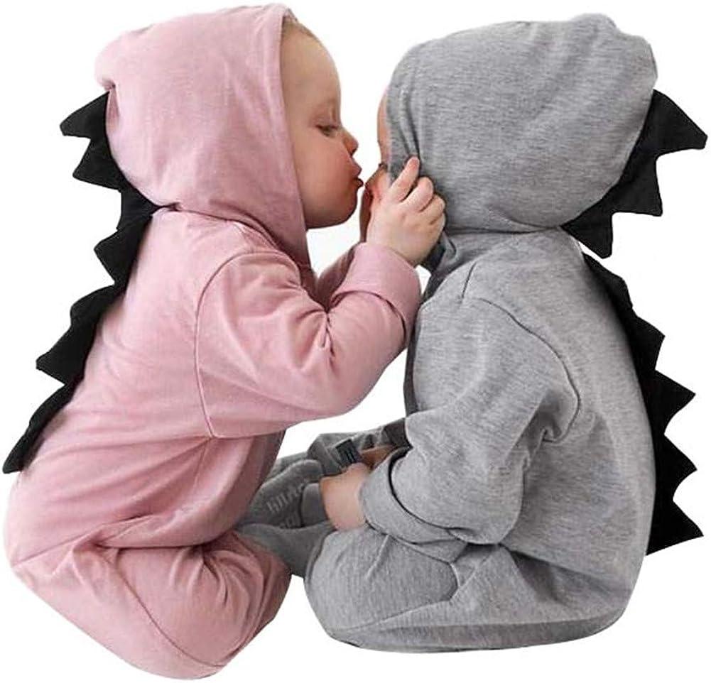 Yuemengxuan Newborn Baby Boys Girls Dinosaur Outfits Infant Onesies Hoodie Romper Jumpsuit Pajamas Set