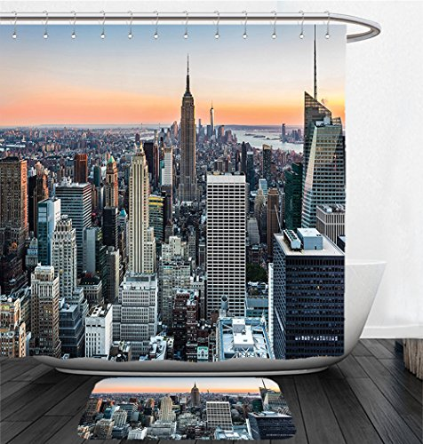Nalahome Bath Suit: Showercurtain Bathrug Bathtowel Handtowel Art Decor New York City Themed Decor Art Picture Rose Quartz Manhattan Skyline Sunset Lighted Fabric Room Divider Panel Landscape - Manhattan York New Macy