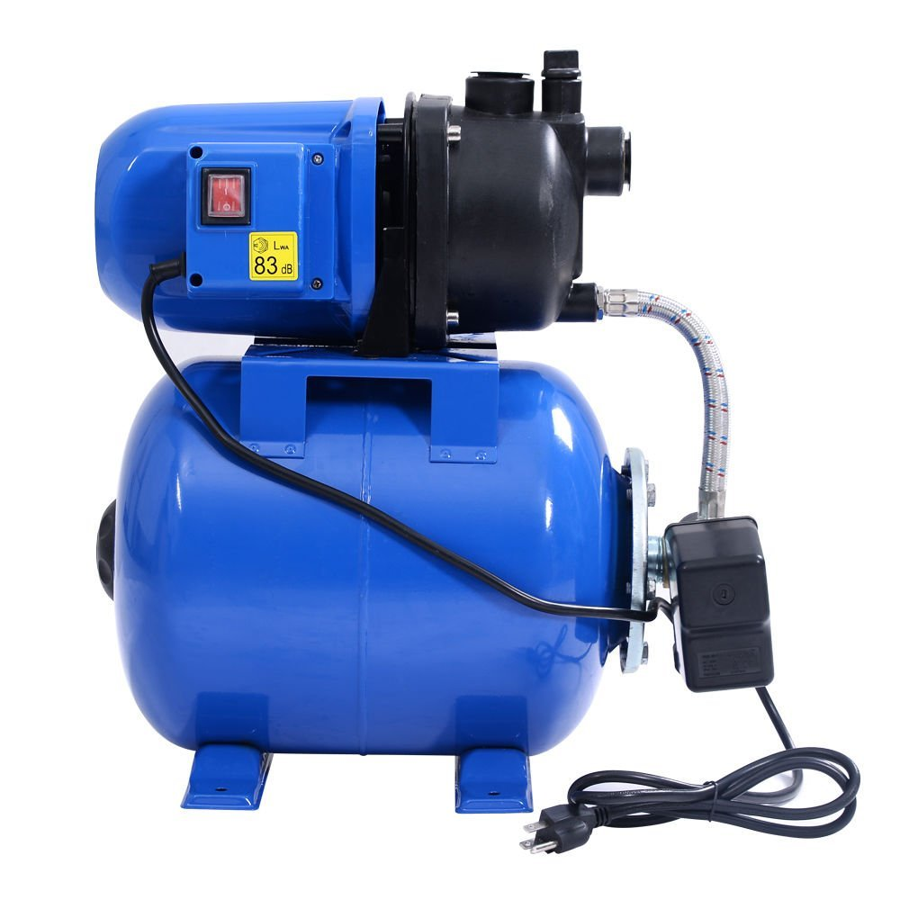 Goplus 1.6HP Shallow Well Pump & Tank Garden Water Pump Jet Pressurized Home Irrigation 1000GPH, 1200W (Blue) by Goplus