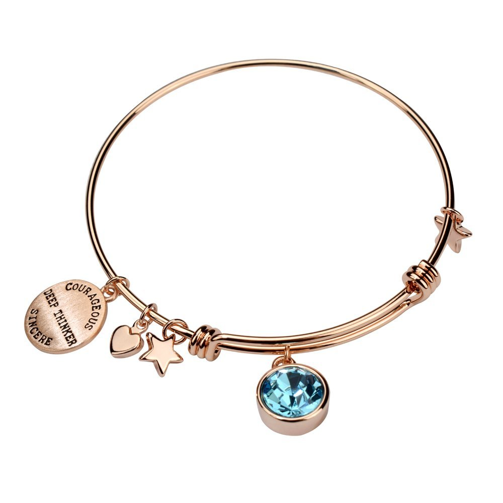 Miraclelove Rose Gold Birthstone Crystal Personalities Engraved Charm Expandable Bangle Bracelet, 7.8''