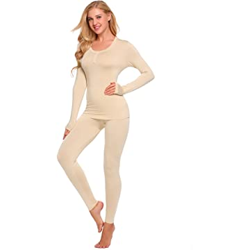 Women's Thermal Underwear Long Sleeves Johns Set Winter Base Layer Pajama
