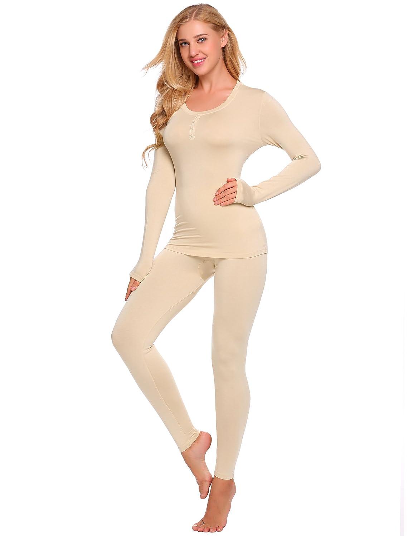Ekouaer Women's Crewneck Stretch Top & Bottom Thin Long Thermal Underwear Set AMK007892