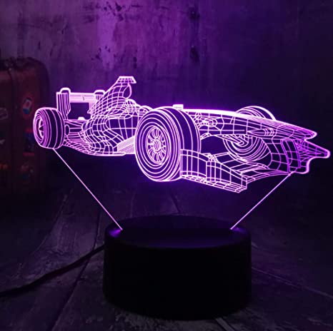 Cool Formula Racing Car 3D LED Night Light Desk Acrílico ...