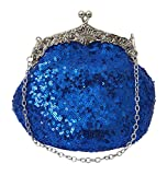 Chicastic Full Sequin Mesh Beaded Antique Style Wedding Evening Formal Cocktail Clutch Purse - Royal Blue