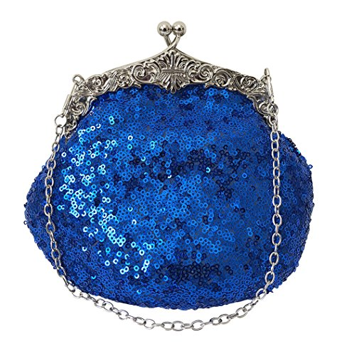 - Chicastic Full Sequin Mesh Beaded Antique Style Wedding Evening Formal Cocktail Clutch Purse - Royal Blue
