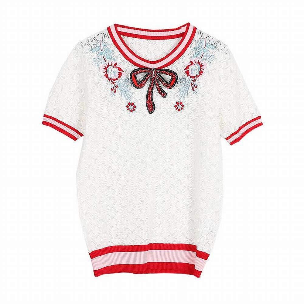 Good dress Lingge Hohlen Pullover Frauen Handwerkskomplex Diamant-Besetzte Bogen Stickerei Stickerei Stickerei Rundhals Kurzarm-Shirt B07H3KDCB2 Bekleidung Zart 7d49c0