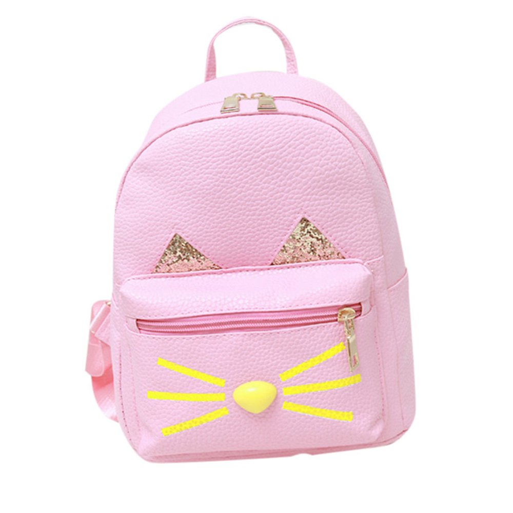 Backpack, MagicQueen Girls Leather Schoolbag Travel Shoulder Bag Lovely Cat Backpacks for Women Teenage Girls 20x25x10cm (Pink)