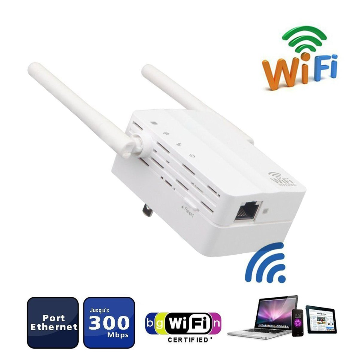 Wifi Router Range Extender, OnKey Internet Booster Signal Extenders to Smart Home in Every Corner Wireless Repeater 2.4GHz Up to 300 Mb - Best Range Network Plug-In, Easy Set Up
