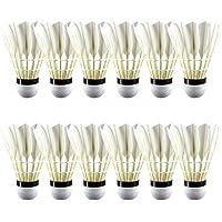 YSHTAN Lot de 12 volants de badminton en plumes synthétiques durables et stables A+60E
