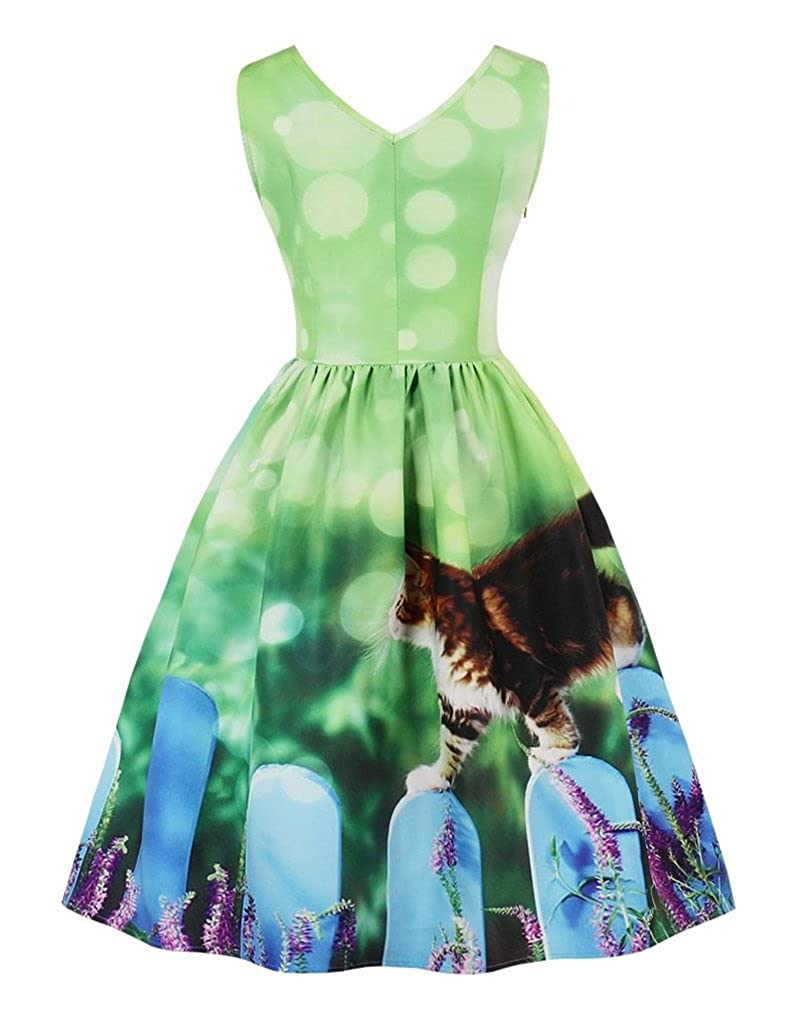 Fenxxxl Womens 1940s Vintage Audrey Hepburn Pleated Cocktail Party Skater Christmas Dress S-4XL