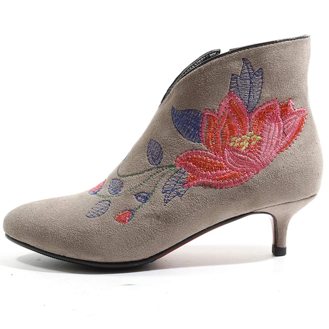 20fb47de48dd Artfaerie Womens Kitten Heel Embroidery Ankle Boots Floral Print Booties  with Zip Pointed Toe Elegant Shoes  Amazon.ca  Shoes   Handbags