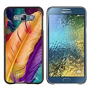KLONGSHOP // Cubierta de piel con cierre a presión Shell trasero duro de goma Protección Caso - Aves Pascua Yellow Spring - Samsung Galaxy E7 E700 //