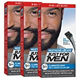 Facial Hair Color - Just For Men Mustache & Beard Brush-In Color Gel, Jet Black (Pack of 3, Packaging May Vary)