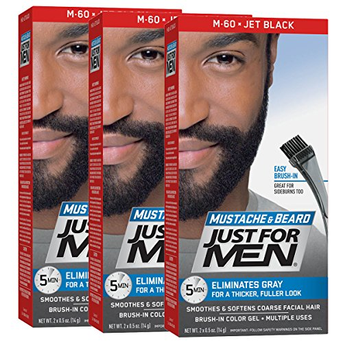 Just For Men Mustache & Beard Brush-In Color Gel, Jet Black (Pack of 3, Packaging May Vary) by Just for Men