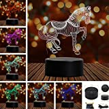 Horse 3D Touch Table Desk Lamps, Tony 7 Color Changing Lights with Acrylic Flat & ABS Base & USB Charger