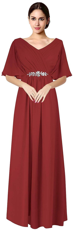 Burgundy VaniaDress Women V Neck Half Sleeveles Long Evening Dress Formal Gowns V265LF