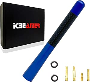 "ICBEAMER 5"" 127 mm Aluminum Blue w/Real Carbon Fiber Universal AM/FM Radio Antenna Screw-in Stubby Aerial Replacement"
