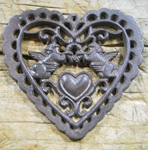 Metal Cherub Candle Holders - Cast Iron Victorian Style Heart Plaque Sign Rustic Angels Wall Decor Cherubs