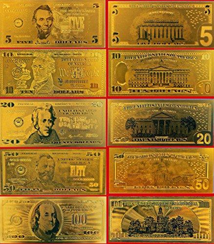 Gold Bank Note Set 24K  999 5Pc Set By 24K Gold Leaf Banknotes