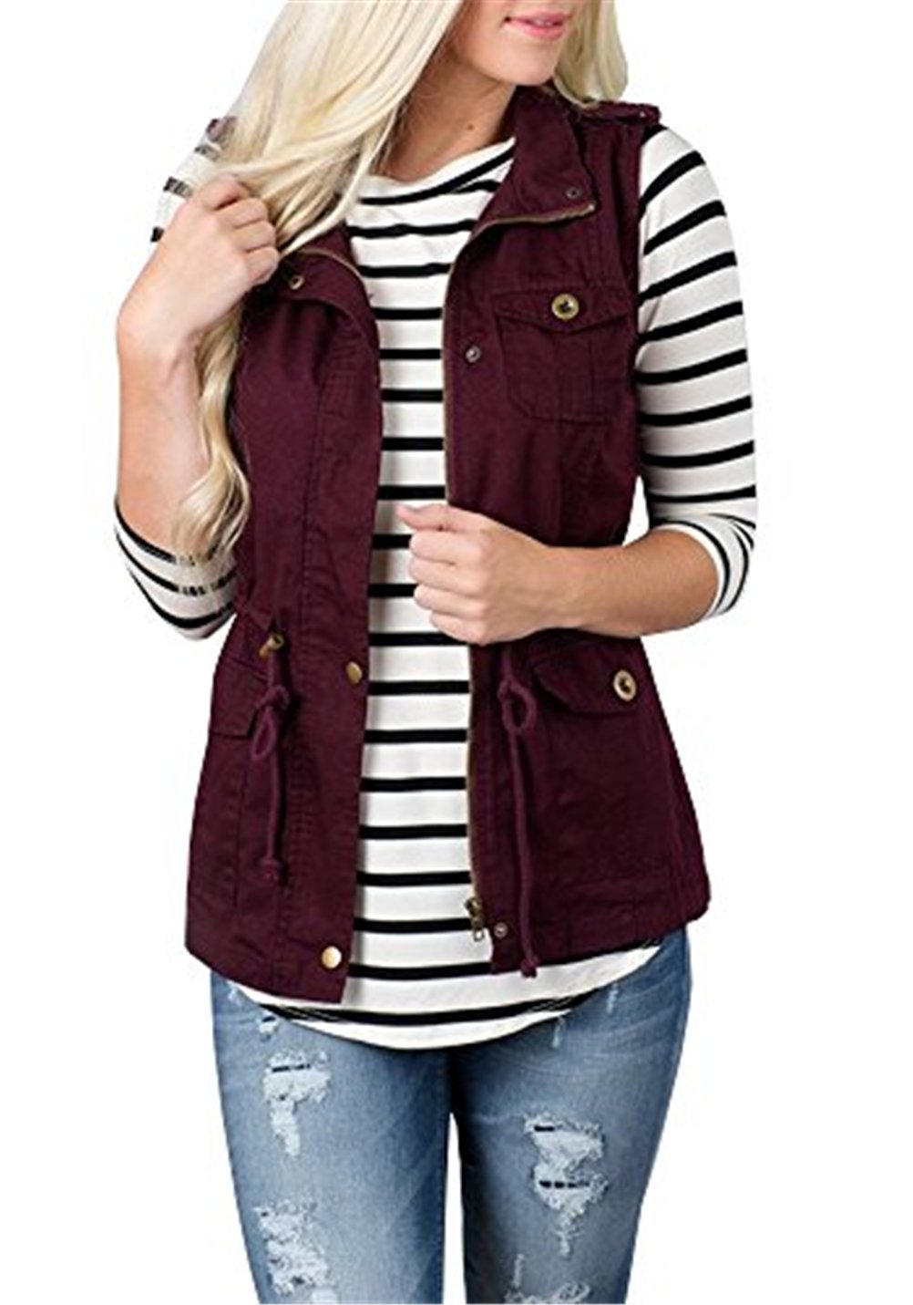 U-WARDROB Sleeveless Military Lightweight Warm Vest Jacket with Pocket for Women Burgundy XXL by U-WARDROB