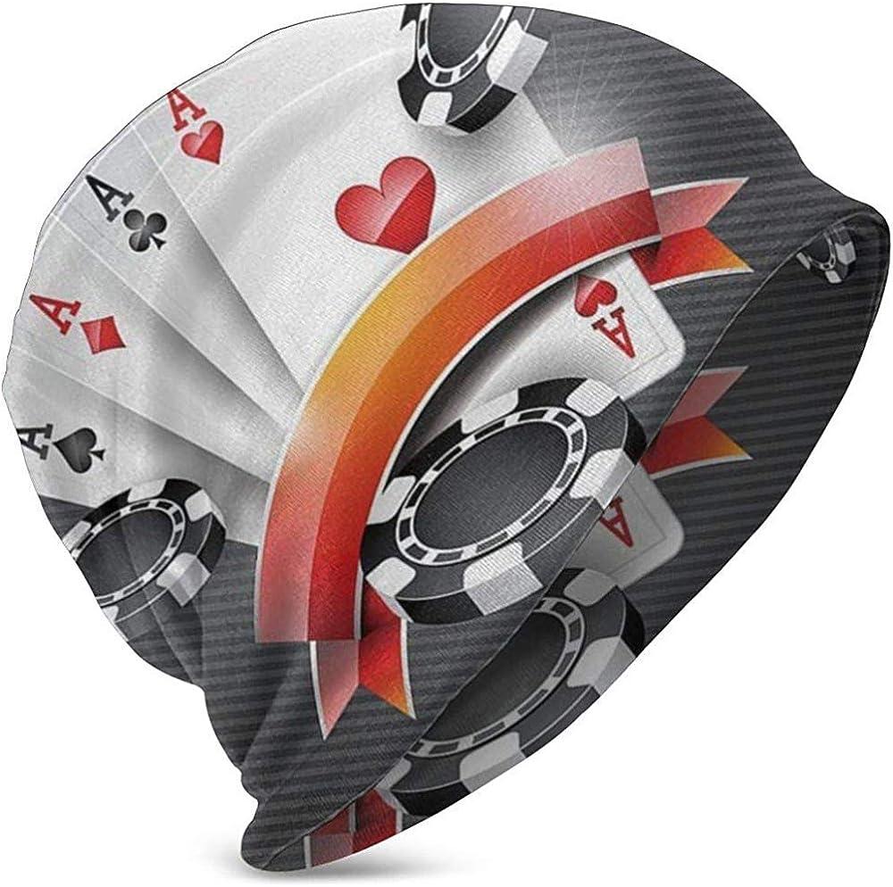 Beanie for Women Men Unisex Poker Skull Art Warm Winter Knit Beanies Hats