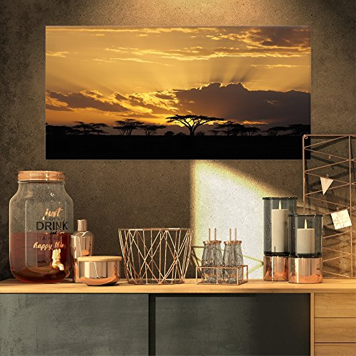 Design Art Sunset in Africa with Acacia Tree Extra Large Landscape Canvas Art by Design Art