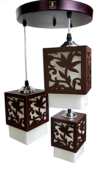 Imper!al 3 Lights Lotus Chandelier Hanging Pendant Ceiling Light with E27 Bulb (Brown and White) Pendant Lights at amazon
