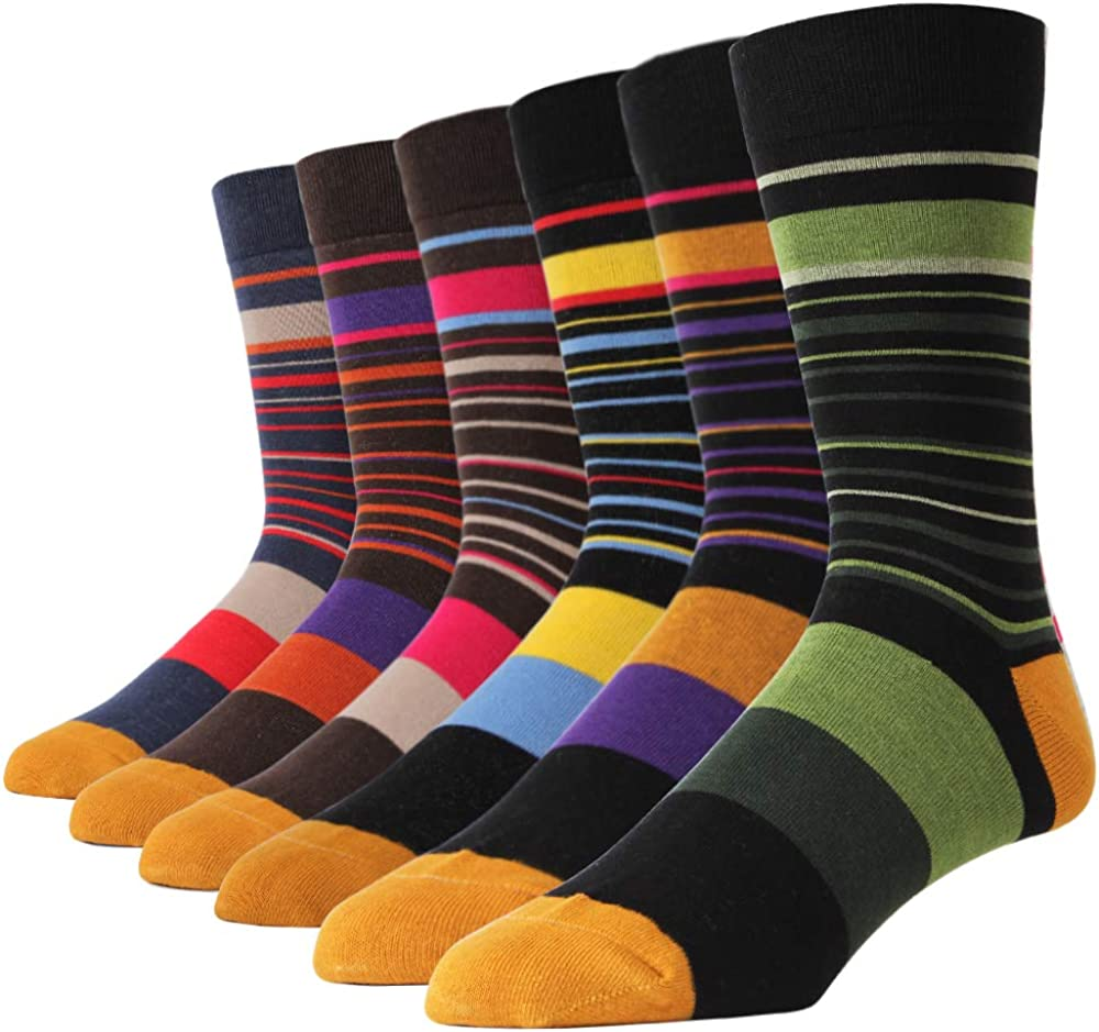 SOXART 6-Pack Men's Dress Socks Striped Patterned Big & Tall Multi Color Cute Style SIZE 10 11 12 13 14 15 16