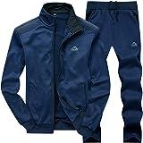 Men 2 Piece Tracksuit Set - Full Zip Athletic Sweatsuit Outfit Jogger Sport Set 2XL DarkBlue