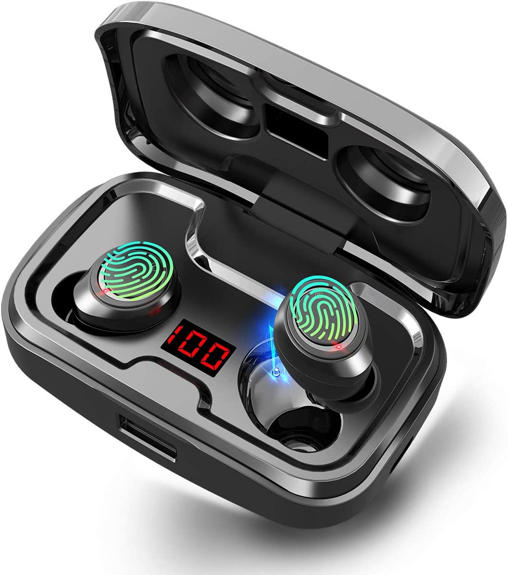 chrome colored GRDE wireless earbuds in their charging case