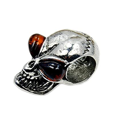 Honey Amber and Sterling Silver Skull Ring l8ixc2JB