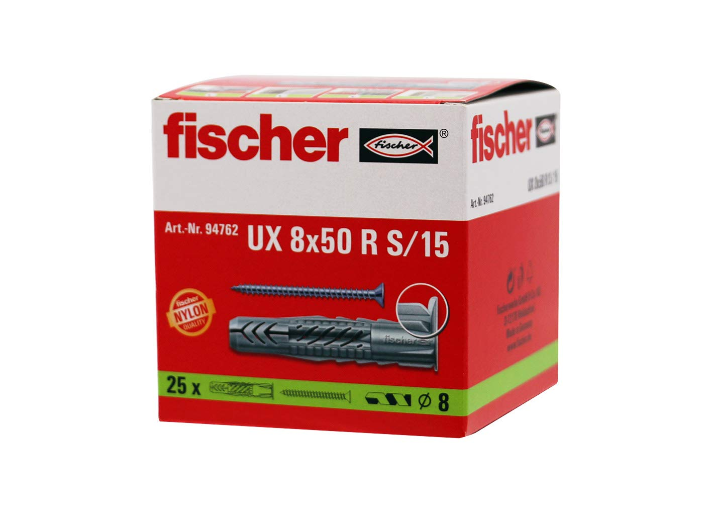 Fischer 094762 8 x 50 mm UX-R S/15 Universal Plug - Zinc (25-Piece)