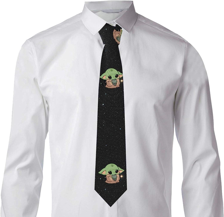Manda-lorian Baby Yoda Mens Necktie Tie Adjustable Advanced Business Neckties Funny Colorful Fashion Novelty Ties Casual Attire Suit Washable Shirt Classic Tie For Men Teen