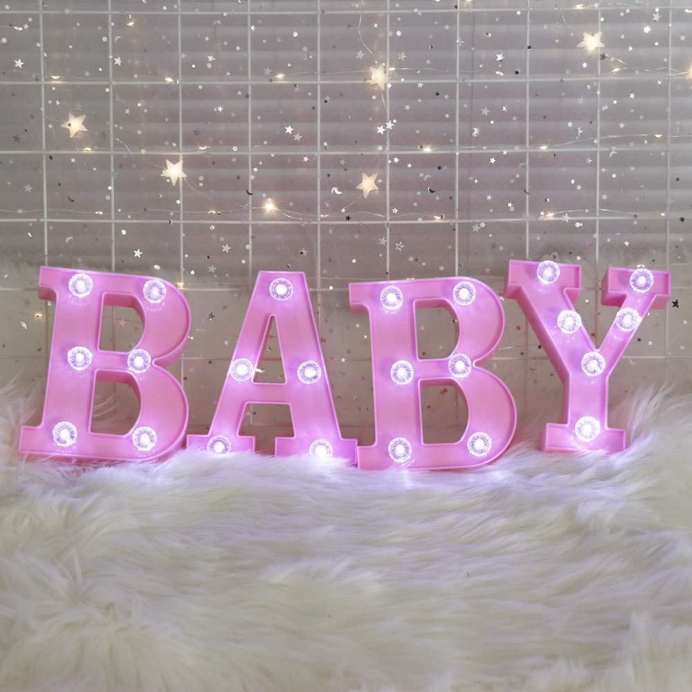 Amazon.com: Pooqla Decorative Illuminated Marquee Baby Word Sign ...