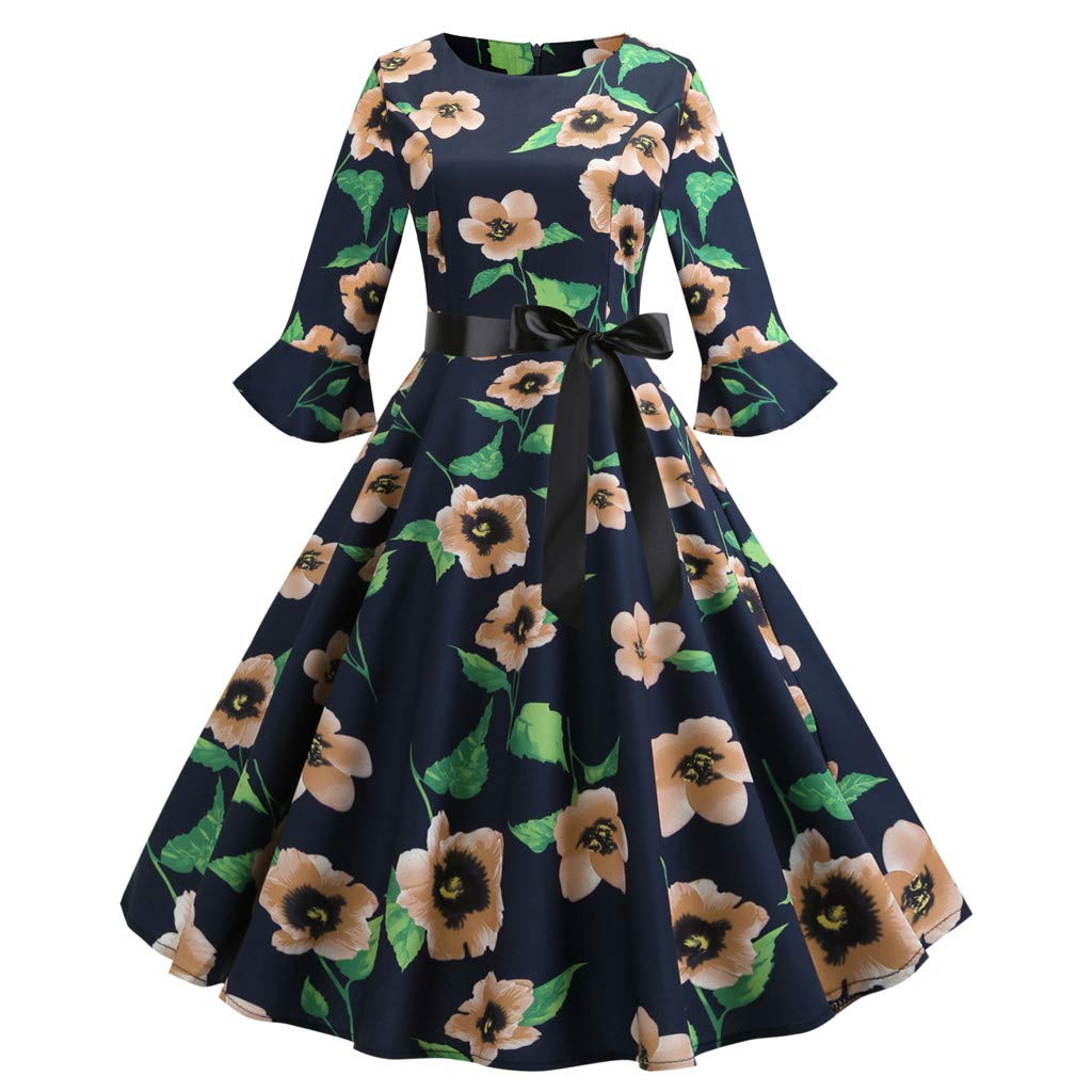 Nevera Women's Bell Three Quarter SleeveO Neck Floral Printing Vintage Gown Evening Party Dress with Tie Yellow